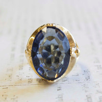 Vintage 1970s Cocktail Ring Sapphire Oval Cut Swarovski Crystal 18k Yellow Gold Electroplated Made in USA