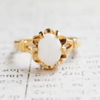 Vintage 1970s Genuine Opal Solitaire Ring 18k Yellow Gold Electroplated Made in USA