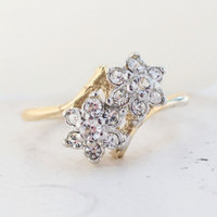 Vintage 1970s Star Cluster Ring set with Swarovski Crystals Made in USA