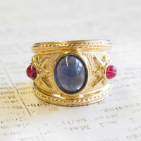 Vintage 1970's Sapphire and Ruby Glass Cabochon 18k Gold Plated Ring Made in USA