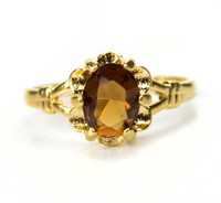 Vintage 1970s Smoky Topaz Solitaire Ring 18k Yellow Gold Electroplated Made in USA