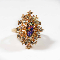 Vintage 1970s Harlequin Opal with Clear Swarovski Crystals 18kt Yellow Gold Electroplated Cocktail Ring Made in USA