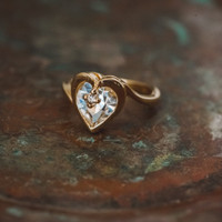 Vintage 1970s Heart Shape Ring with Clear Swarovski Crystal 18k Yellow Gold Electroplated Made in USA