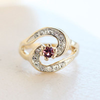 Vintage Amethyst Cubic Zirconia 18k Yellow Gold Plated Ring with Clear Swarovski Crystals Made in USA