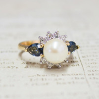 Vintage 1970's Faux Pearl Ring with Sapphire Swarovski Crystals 18kt Yellow Gold Electroplated Made in USA