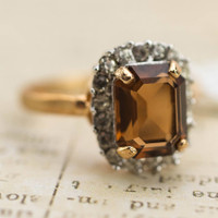 Vintage 18k Yellow Gold Plated Ring with Topaz and Clear Swarovski Crystals Made in USA