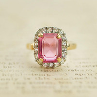 Vintage 18k Yellow Gold Plated Ring Pink and Clear Swarovski Crystals #R1059
