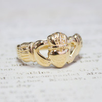 Handcrafted Vintage 18k Yellow Gold Electroplated Irish Claddagh Ring Made in USA