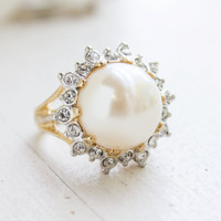 Vintage 1970's Pearl Bead and Swarovski Crystal Ring 18k Yellow Gold Electroplated Made in USA