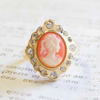 Vintage 1970's 18k Yellow Gold Plated White on Coral Cameo Ring with Clear Swarovski Crystals Made in USA