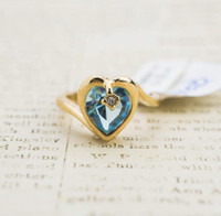 Vintage 1970's Heart Shape Ring with Aquamarine Swarovski Crystal 18k Yellow Gold Electroplated Made in USA