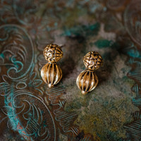 Vintage Oscar De La Renta Antique Gold Tone Post Earrings