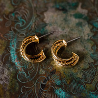 Vintage Oscar De La Renta Gold Plated Open Post Hoop Earrings