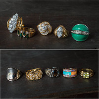 Vintage Ring Collection Surprise Mix of 5 Rings Made in USA