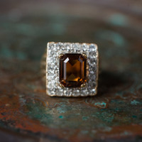Vintage Smokey Topaz and Clear Swarovski Crystal Cocktail Ring 18k Yellow Gold Electroplated Made in USA