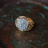 Vintage Men's 18K Yellow Gold Electroplated Ring Clear Swarovski Crystals Unisex Made in USA