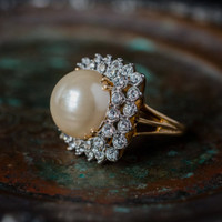 Vintage Pearl Bead and Clear Swarovski Crystal Cocktail Ring 18k Yellow Gold Electroplated Made in the USA