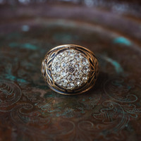 Vintage Men's Antiqued 18K Yellow Gold Electroplated Ring Clear Swarovski Crystals Unisex Made in USA