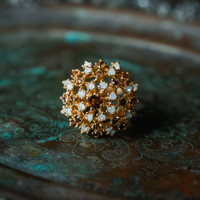 Vintage Smokey Topaz Crystal and Pinfire Opal Burst Ring 18k Yellow Gold Electroplated Made in USA