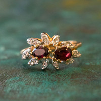 Vintage Ring Genuine Garnet and Clear Swarovski Crystals 18kt Yellow Gold Plated Band January Birthstone Made in USA