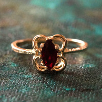 Vintage Garnet Austrian Crystal Ring 18k Yellow Gold Electroplated Made in the USA