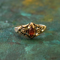 Vintage Garnet Austrian Crystal Ring 18k Gold Electroplated Made in the USA