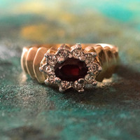 Vintage Ring Genuine Garnet and Clear Swarovski Crystals 18k Yellow Gold Plated Made in USA