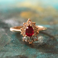 Vintage 1990's Ring Ruby and Clear Swarovski Crystals 18k Yellow Gold Plated