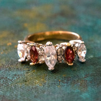 Vintage Genuine Garnet and Clear Cubic Zirconia Cocktail Ring 18k Yellow Gold Electroplated Made in USA