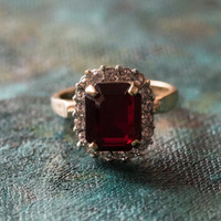 Vintage 1980s Garnet Cubic Zirconia Ring with Clear Swarovski Crystals 18k Yellow Gold Electroplated Made in USA