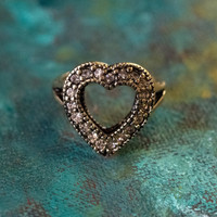 Vintage Clear Swarovski Crystal Heart Ring Antiqued 18k Yellow Gold Electroplated Made in USA
