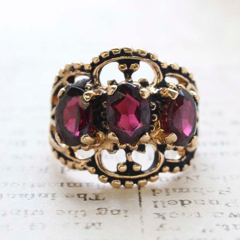 Vintage Jewelry Garnet Crystal Cocktail Ring in 18kt Yellow Gold Electroplate Made in the USA