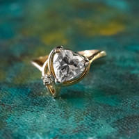 Vintage Cubic Zirconia Heart Ring 18k Yellow Gold Electroplated Made in USA