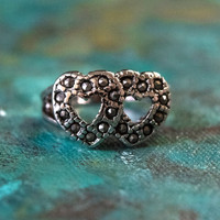 Vintage Genuine Marcasite Double Heart Ring Antiqued 18k White Gold Electroplated Made in USA