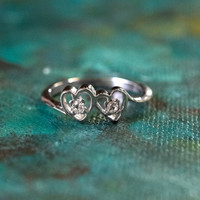 Vintage Clear Swarovski Crystal Heart Ring 18k White Gold Electroplated Ring Made in USA