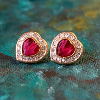 Vintage Red Cabochon Heart and Clear Crystal Post Earrings 18k Yellow Gold Electroplated Made in USA