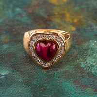 Vintage Ring Red and Clear Swarovski Crystals Heart Ring 18k Yellow Gold Electroplated Ring Made in USA