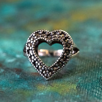 Vintage Genuine Marcasite Heart Ring Antiqued 18k White Gold Electroplated Made in USA