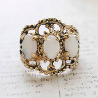 Vintage Jewelry Genuine Opal Cabochon Stones Cocktail Ring in 18kt Yellow Gold Electroplate Made in the USA