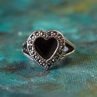 Vintage Black Enamel and Marcasite Heart Ring Antiqued 18k White Gold Electroplated Made in USA