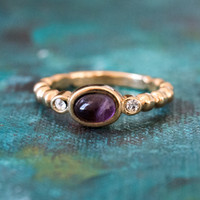 Vintage Amethyst Cabochon and Clear Swarovski Crystal Ring Made in USA