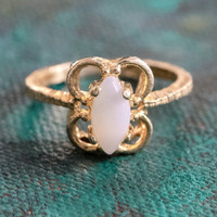 Vintage Genuine Opal Cocktail Ring 18k Yellow Gold Electroplated October Made in the USA