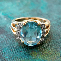 Vintage 1980's Aquamarine Cubic Zirconia Ring with Clear Swarovski Crystals 18k Yellow Gold Electroplated Made in USA