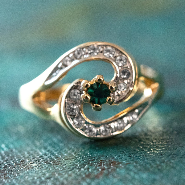 719139693 Vintage Emerald Cubic Zirconia 18k Yellow Gold Plated Ring with Clear Swarovski  Crystals Made in USA - Providence Vintage Jewelry