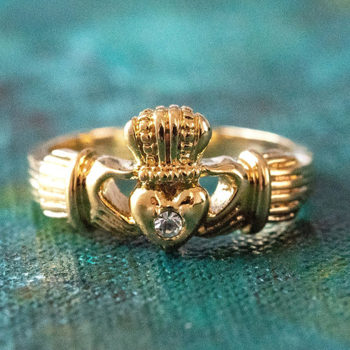 Vintage Jewelry Clear Swarovski Crystal Claddagh Ring 18k Yellow Gold Electroplated Made in the USA