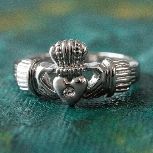 Vintage Jewelry Clear Swarovski Crystal Claddagh Ring 18k White Gold Electroplated Made in the USA