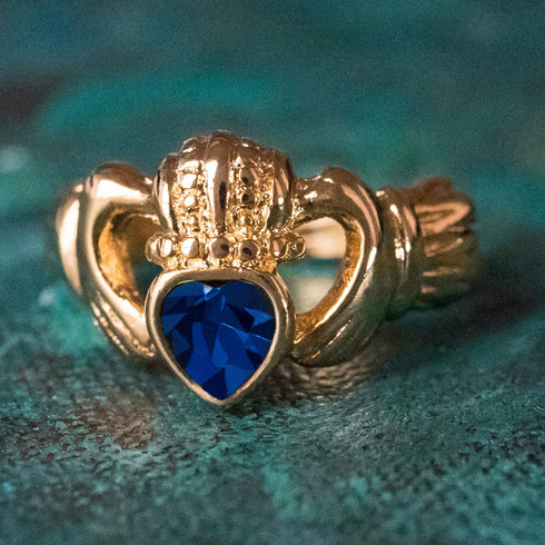 Vintage Jewelry Sapphire Swarovski Crystal Claddagh Ring 18k Yellow Gold Electroplated Made in the USA