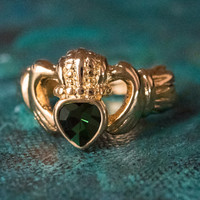 Vintage Jewelry Green Tourmaline Swarovski Crystal Claddagh Ring 18k Yellow Gold Electroplated Made in the USA