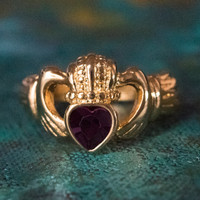 Vintage Jewelry Amethyst Swarovski Crystal Claddagh Ring 18k Yellow Gold Electroplated Made in the USA