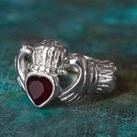Vintage Jewelry Garnet Swarovski Crystal Claddagh Ring 18k White Gold Electroplated Made in the USA